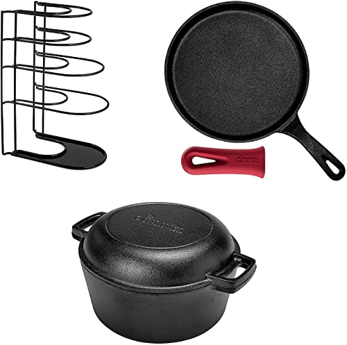 """2021 Cast Iron Cookware Set - lowest 5-Quart Double Dutch Oven Set + new arrival 10.5"""" Round Griddle/Crepe Pan + 15.4"""" Heavy Duty Pan Organizer - Indoor/Outdoor Use - Grill, Stovetop, Induction Safe online sale"""