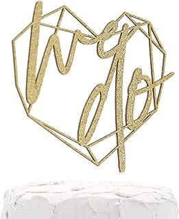 NANASUKO Wedding Cake Topper - we do - with Modern Geometric Heart Frame - Double Sided Gold Glitter - Premium Quality Made in USA