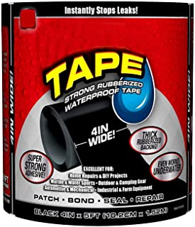NIHILANO™ Strong Rubberized Waterproof Flex Tape Instantly Stops Leaks Waterproof Flex Seal Super Strong Adhesive Sealant Tape for Any Surface, Stops Leaks, Large (Black)