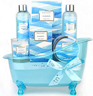 Bath Gift Set for Women,Body & Earth Home Spa Kit Scented with Ocean,Bath and Body Gift Basket Set,Spa Gifts for Women,7 Pcs Bath Set,Best Gift Ideal for Her