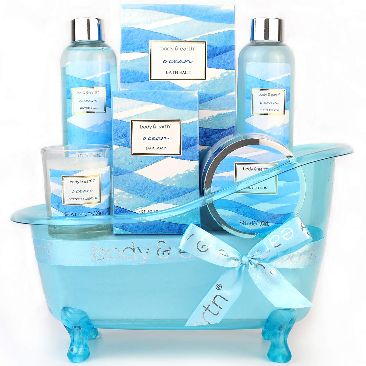 Bath Gift Set for Women,Body & Earth Home Spa Kit Scented with Ocean,Bath  and Body Gift Basket Set,Spa Gifts for Women,5 Pcs Bath Set,Best Gift Ideal