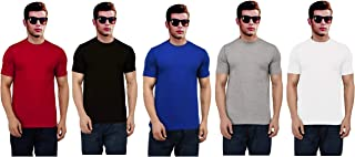 Ritzees Half Sleeve Solid Colour Cotton T-Shirt for Men, Women, Kids -Pack of 5(Red,White,Grey,Black Blue, Size-Xs)
