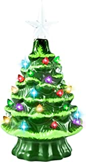 "GIVERARE Ceramic Christmas Tree with Timer, 8"" Pre-Lit Hand-Painted Tabletop Xmas Decor with 32 Multicolored Lights&Top St..."