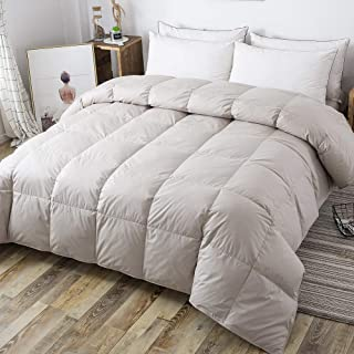 DOWNCOOL 100% Cotton Quilted Down Comforter with Corner Tabs - Grey Goose Duck Down Feather Filling - Lightweight and Medium Warmth Box Stitched All-Season Duvet Insert - Twin/Twin XL