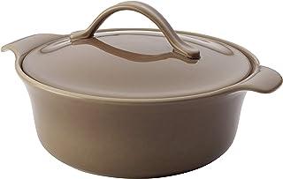 Anolon Vesta Ceramics Casserole Dish/Casserole Pan with Lid, Round - 2.5 Quart, Umber