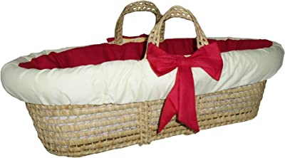 Baby Doll Bedding Solid Reversible Moses Basket, Red/Yellow