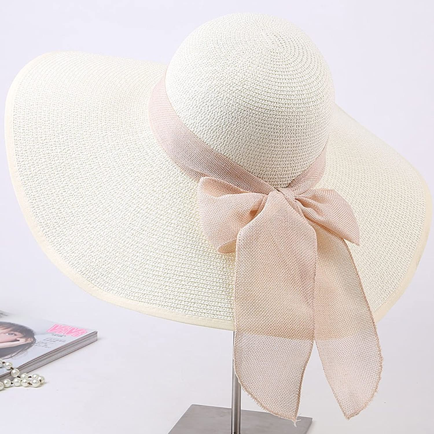 YD Hat Summer Hat, Women Sun Hat Wide Brim Sunscreen Straw Cap Hand Knitting Floppy Foldable Packable Summer, 17 colors Optional    (color   12 )