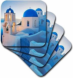 3dRose CST_149764_1 Greece, Santorini, Church Domes, Greek Architecture Soft Coasters, Set of 4