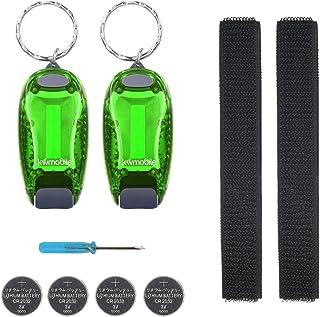 Kwmobile Set van 2 LED veiligheidslicht - knipperlicht licht clip - joggen met batterijen klittenband armband - meer zicht...