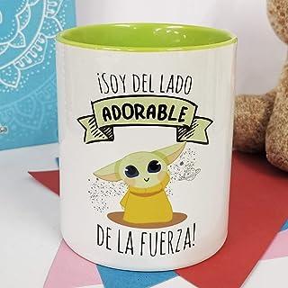 La Mente es Maravillosa - Taza con Frase y dibujo. Regalo original y gracioso (¡Soy del lado adorable de la fuerza!) Taza Baby Yoda