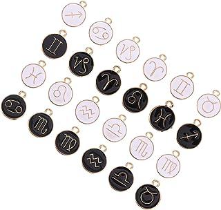 ULTNICE 24pcs Zodiac Sign Enamel Charms Twelve Constellation Pendants Beads Lucky Charm Pendant DIY for Necklace Bracelet ...