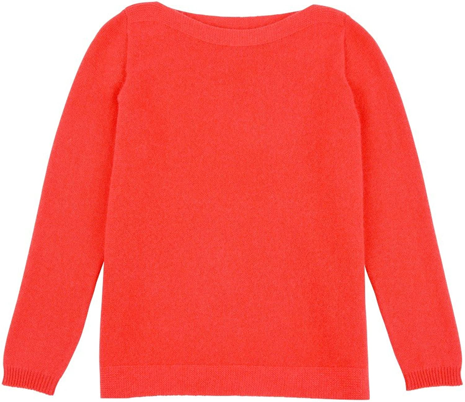LES POULETTES Womens Sweater 100% Cashmere 4 Plys  Coral Red