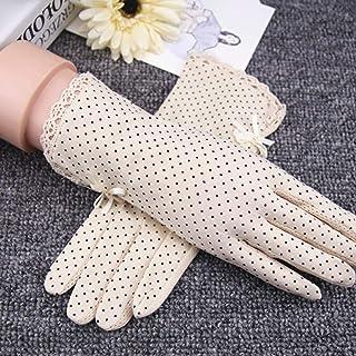 Dinapy Guanti da guida per donna guanti da sole elastici con protezione solare sottile per la cura della pelle per la primavera autunno bianco