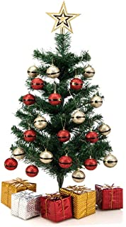 SANNO Artificial Christmas Tree Pine Tree with Christmas Balls, 24 inch Table Decoration Artificial Tabletop Xmas Pine Bedroom Desk Ornament for Home Office Supplies Gift