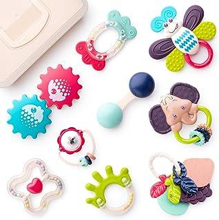ألعاب التسنين من دامينغ للأطفال من سن 0-6 أشهر، 9 قطع من ألعاب خشخيشة الأطفال وعضاضاتهم مع صندوق تخزين، ألعاب تعليمية مبكر...