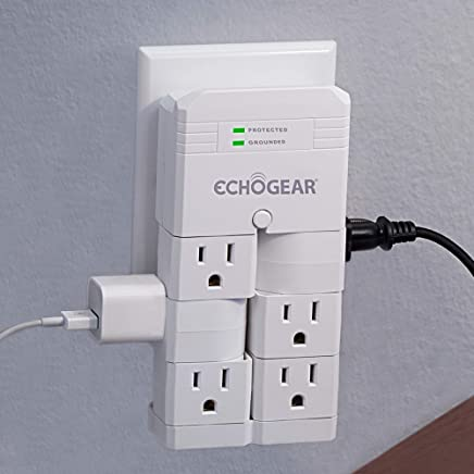 ECHOGEAR On-Wall Surge Protector with 6 Pivoting AC Outlets & 1080 Joules of Surge Protection - Low Profile Design Installs Over Existing Outlets to Protect Your Gear & Increase Outlet Capacity