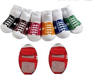 CHIBIS, CUTE BABY BOYS GIRLS BASEBALL TRAINER STYLE ANTI SLIP SOCKS AGE 1 -2 12 18 24 MONTHS