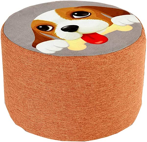 XSJ Footstools Small Stool Change Shoes Stool Low Stool Solid Wood Fabric Fashion Creative Children Sofa Stool Cartoon Dog Sitting On The Pier Size High20cm