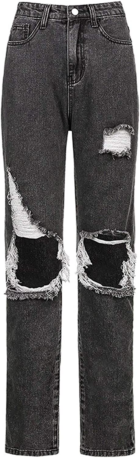 wodceeke Women's Ripped Hight Waisted Jeans Distressed Denim Pants