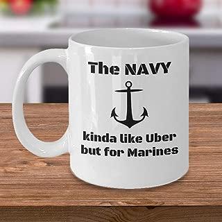 VETERAN coffee mug - The Navy kinda like Uber but for Marines - Funny US marine corps USMC armed forces gift idea