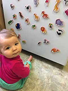 Refrigerator Magnets for Kids ZOO Animals- Foam magnets for toddlers- Developmental toys- Fridge Magnetic set for children- Baby toys- Animals toys- Educational toys for 1 year olds- Toddler toys
