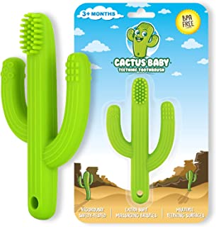 Cactus Baby Teething Toys Toothbrush | Self-Soothing Pain Relief Soft Silicone Teether Training Toothbrush for Babies, Toddlers, Infants, Boy and Girl | Natural Organic BPA Free | 0-12 Months | Green