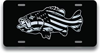 Decals Home Decor & More American Flag Bass Fishing Vanity License Plate   Etched Aluminum   6-Inches by 12-Inches   Car Truck RV Trailer Wall Shop Man Cave   VLP183