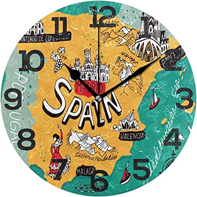 Jacque Dusk España Mapa Reloj De Pared De Dibujos Animados Silencioso Sin Tictac Acrílico Decorativo para El Hogar Oficina Escuela Reloj Redondo Arte,10 Pulgada/Diámetro 25 CM: Amazon.es: Hogar