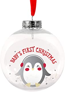 Lil Peach Baby's First Christmas Penguin Snow Globe Holiday Keepsake Ornament, Red and Silver
