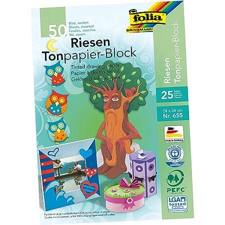 25 Bogen Farbe:55 grasgr/ün 50x70cm Folia Tonpapier // Bastelpapier 130g//m/²