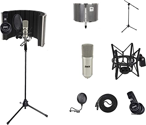 popular LyxPro Vocal Booth 20 online Sound 2021 Absorbing Portable Microphone Shield, Durable Boom Arm, Spider Shockmount, Dual Layer Pop Filter, Vocal Condeser & Professional Studio Headphones Kit online sale