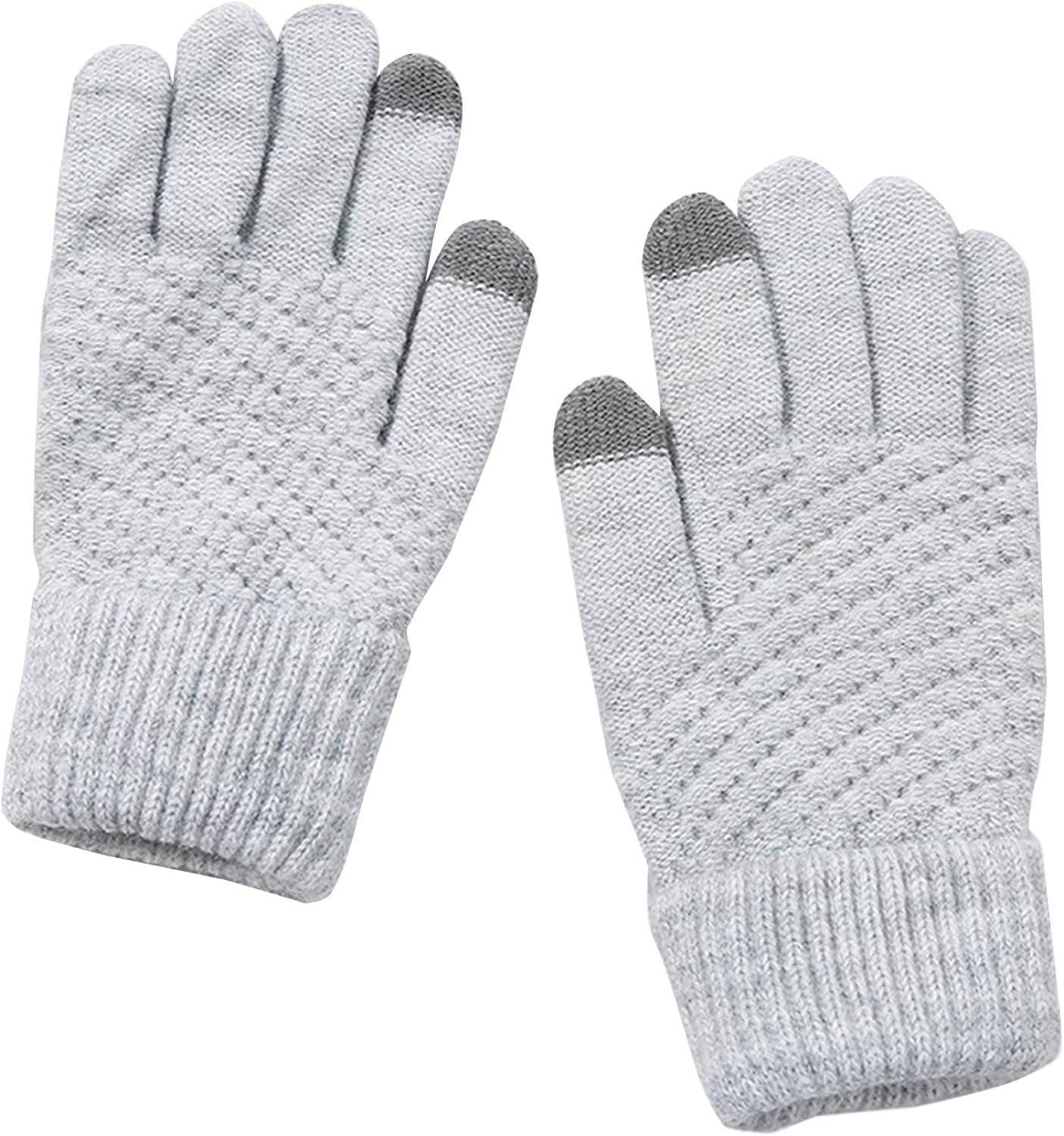 Winter knit gloves for Women and Men Touch screen Elastic cuff Thermal soft wool lining