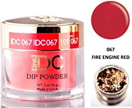 DND DC Reds & Orange DIP POWDER for Nails 1.6oz, 45g, Daisy Dipping (with bonus side Glitter) Made in USA (FIRE ENGINE RED (067))