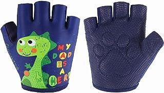 Kids Half-Finger Climbing Gloves for Age 3-10 Boys and Girls Monkey Bars Biking, Good Grip Control Gloves for Gymnastics S...