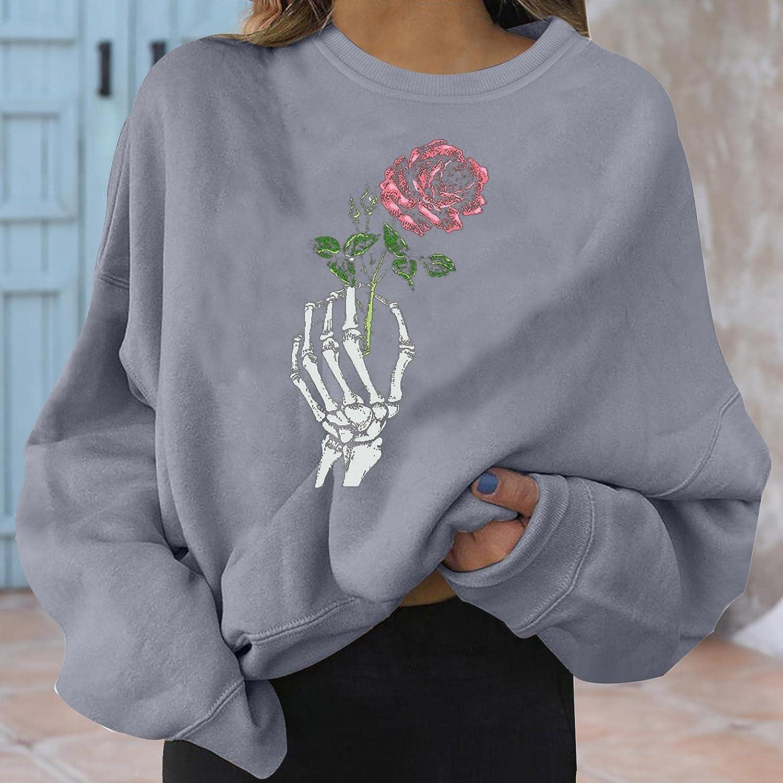 AIHOU Halloween Sweatshirts for Women Skeleton Skull Floral Print Crewneck Sweatshirt Long Sleeve Novelty Lightweight Tops