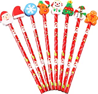 Pangda 16 Pieces Christmas Wooden Pencils Holiday Themed Pencils with Eraser for Kids and Adults Party Favor, 8 Patterns