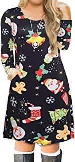 Women's Plus Size Christmas Print Casual Swing T-Shirt Dress with Pockets