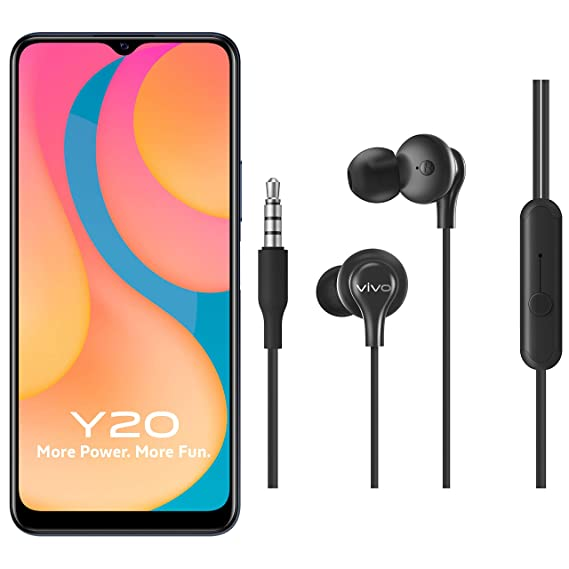 Vivo Y20 (Obsidian Black, 6GB RAM, 64GB Storage) with No Cost EMI/Additional Exchange Offers + vivo Color Wired Earphones with Mic and 3.5mm Jack (Black)