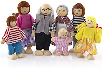 KATERT 7 Pack Poseable Wooden Doll Dollhouse Dolls Wooden Doll Family Pretend Play Figures, Family Role Play Pretend Play Mini People Figures