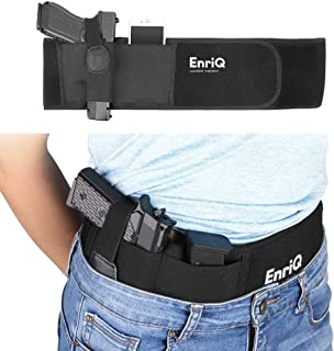 EnriQ Belly Band Holster for Concealed Carry Adjustable Gun Holster Belt Waistband for Pistols Fits All 1911 Glock 19 43 26 Smith and Wesson MP Shield Bodyguard Ruger LC9 Sig Sauer More