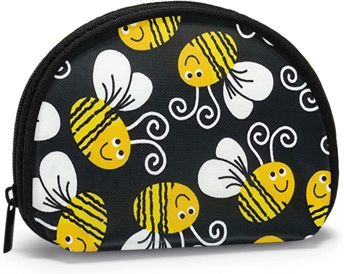 Cute Fashion Coin Purse,Cartoon Cute Bees Small Zipper Wallet Makeup Bags Holiday Gifts For Girls