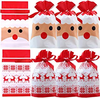 Christmas Treat Bags,24pcs Christmas Party Favor Bags Santa Gift Bags Plastic Drawstring Bags Candy Goodies Bags Gift Wrap...