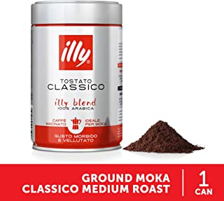 illy Coffee, Moka Ground, Classico Medium Roast, 100% Arabica Bean Signature Italian..