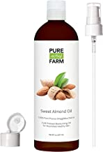 Sweet Almond Oil for Skin and Hair by Pure Acres Farm. Cold Pressed, 100% Unrefined, Hexane Free. Therapeutic Massage Carrier Oil for Face, Body (8oz)