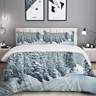 LUNASVT 3PC Bedding Set Ski Themed Snowy Road Cold Parts of The World Footprints Colorado United States 1 Duvet Cover with 2 Matching Pillowcases Home Bedroom Decor King