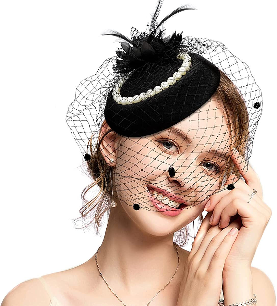 Fascinators Hats for Women Kentucky Derby Hats Tea Party Headwear with Pearls Pillbox Hat with Veil