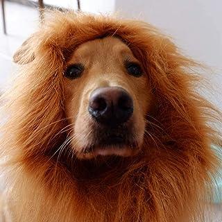 CHICHIC Dog Lion Mane Halloween Lion Mane Wig Costume for Dogs, Make Your Dog Lion, Realistic & Adjustable for Medium to L...