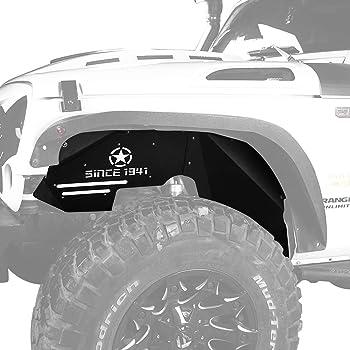 Bentolin for Jeep Wrangler Front Inner Fender Liners for 2007-2018 Jeep Wrangler JK 4WD US Flag Logo Aluminum Lightweight Design Black