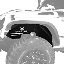 Hooke Road Front Steel Inner Fender Liners w/Five Star Logo for 2007-2018 Jeep Wrangler JK Sport Sahara Rubicon 2/4 Doors