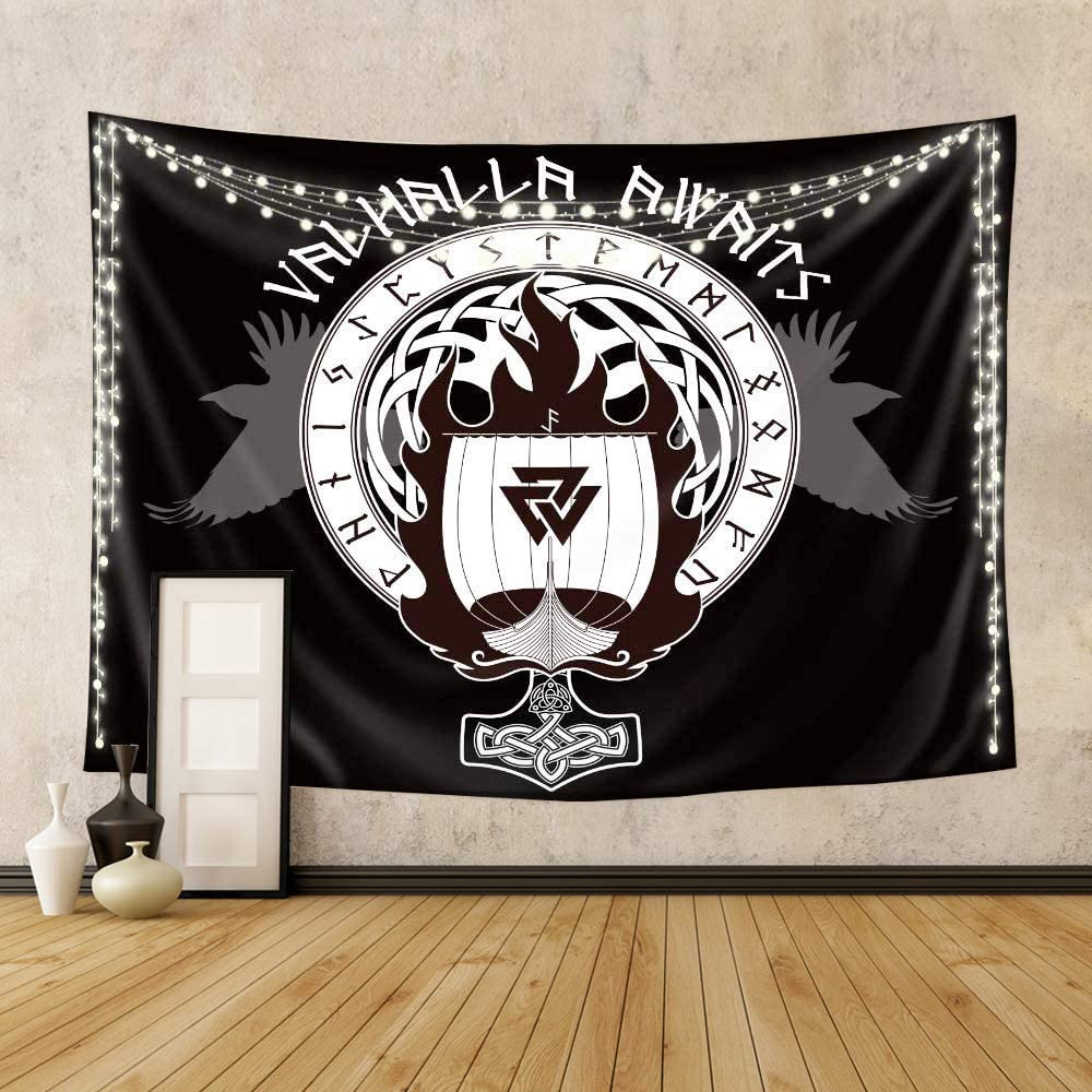 Riyidecor Norse Flag Tapestry 60x80 Inch Blue Boat Warship of The Vikings Drakkar Boat On Fire and Runes Creative Black Warrior Home Decoration Bedroom Living Room Dorm Wall Hanging